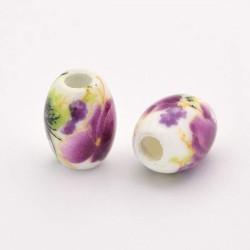 Perle de verre porcelaine Orchidée, ovale