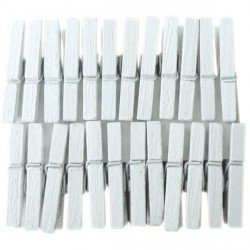 Mini Pinces àlinge blanches 3 cm, 24 pièces