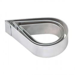 3 emporte-pièces Gouttes d'eau métalliques pour pâte polymère