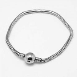 Bracelet clip inoxydable style Pandora 19 cm argenté