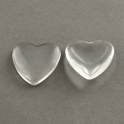 Cabochon coeur 25 mm en verre