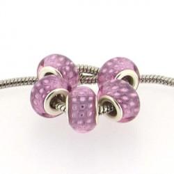 Perle en résine rose Plumes de paon style Pandora - à l'unité
