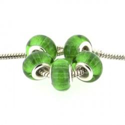 Perle en résine verte bandes scintillantes style Pandora - à l'unité