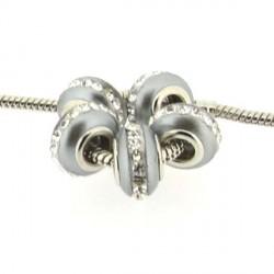 Perle de verre grise métallisée aux strass style Pandora - à l'unité