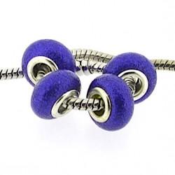 Perle de verre bleu très foncé pailletté style Pandora - à l'unité