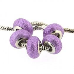 Perle de verre mauve paillettée style Pandora - à l'unité