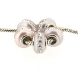 Perle de verre rose métallisée aux strass style Pandora - à l'unité