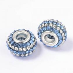 Métal Shamballah lignes bleues et blanches style Pandora - à l'unité