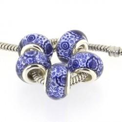 Perle de verre Bleue Vase chinois style Pandora - à l'unité