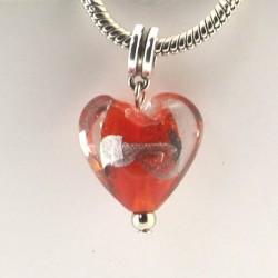 Charm pendentif de verre Coeur rouge argent style Pandora - à l'unité