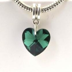 Charm pendentif de verre Coeur vert style Pandora - à l'unité