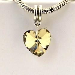 Charm pendentif de verre Coeur champagne style Pandora - à l'unité