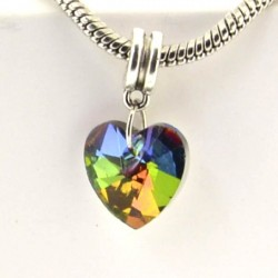 Charm pendentif de verre Coeur multicolore style Pandora - à l'unité