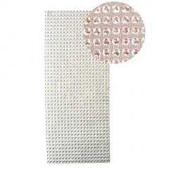 Strass en bande adhésive - 10 x 25,5 cm - Blanc argenté