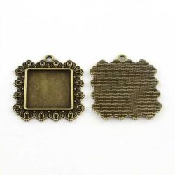 Pendentif carré décoré plateau 25 x 25 mm, bronze antique