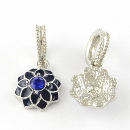 Charm pendentif Fleur double émail bleu style Pandora - à l'unité