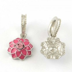 Charm pendentif Fleur double émail fuchsia style Pandora - à l'unité