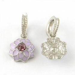 Charm pendentif Fleur double émail parme style Pandora - à l'unité