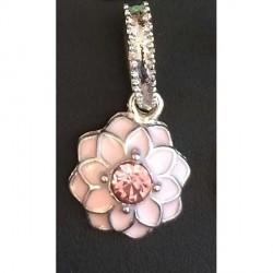 Charm pendentif Fleur double émail rose style Pandora - à l'unité