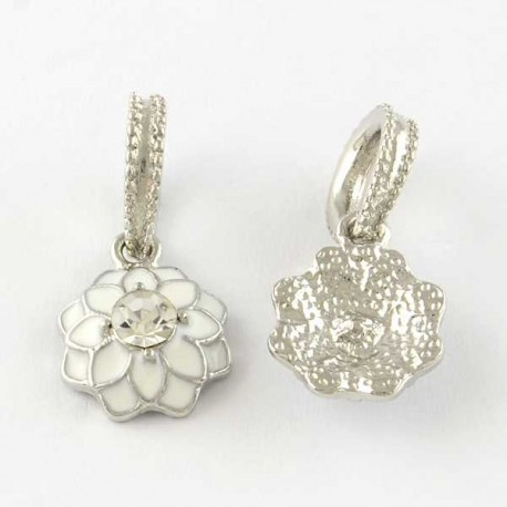 Charm pendentif Fleur double émail blanc style Pandora - à l'unité