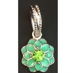Charm pendentif Fleur double émail vert style Pandora - à l'unité