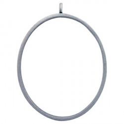 Pendentif contour ovale 38 x 50 mm, argenté