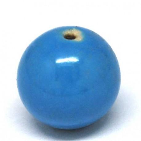 Perle porcelaine vernie Bleue 20 mm - à l'unité