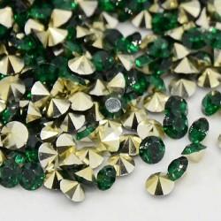 Strass imitation diamant, rond 3 mm, émeraude x 10