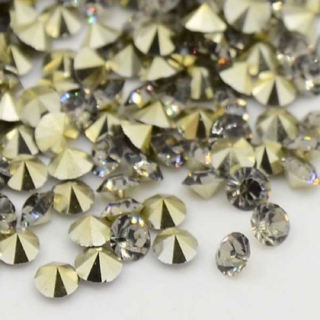 Strass imitation diamant, rond 3 mm, gris x 10