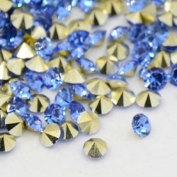 Strass imitation diamant, rond 3 mm, bleu royal x 10