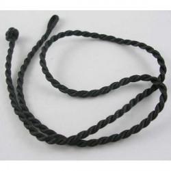 Cordon tressé en soie, noir, 3 mm