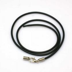 Collier cordon buna en caoutchouc, noir, 2 mm