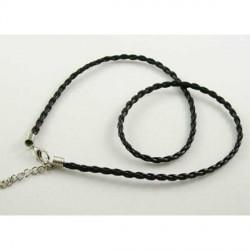 Cordon tressé imitation cuir, noir, 2 mm