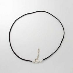 Collier cordon suédine, noir, 2 mm