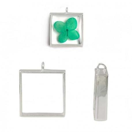 Pendentif contour carré 33 x 28 mm, argenté clair