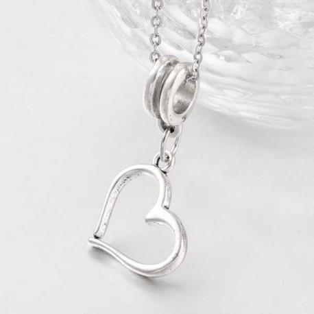 Charm Coeur penché style Pandora - à l'unité