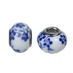Perle porcelaine fleurie Bleu foncé style Pandora - à l'unité