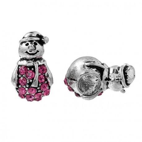 Charm Bonhomme de Neige strass rose style Pandora - à l'unité