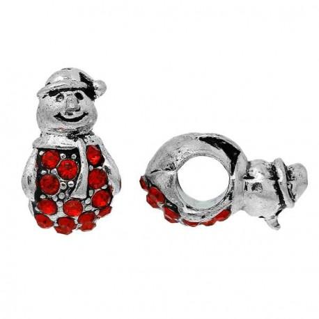 Charm Bonhomme de Neige strass rouge style Pandora - à l'unité