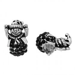 Charm Bonhomme de Neige strass noir style Pandora - à l'unité