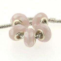 Perle de verre goutte rose style Pandora - à l'unité