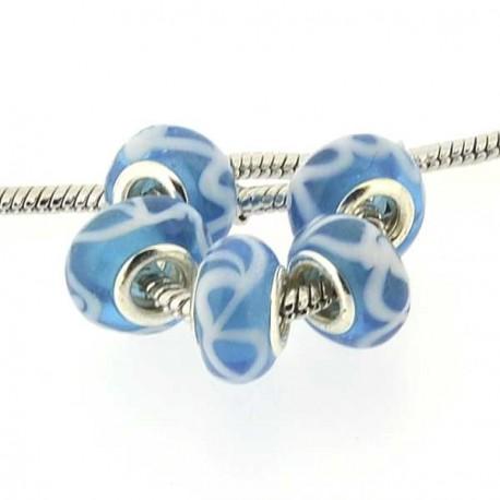 Perle de verre turquoise double guirlande style Pandora - à l'unité