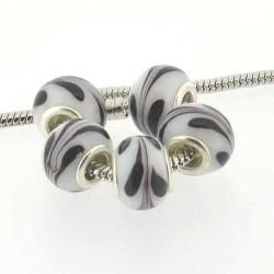 Perle de verre blanche volutes noires style Pandora - à l'unité