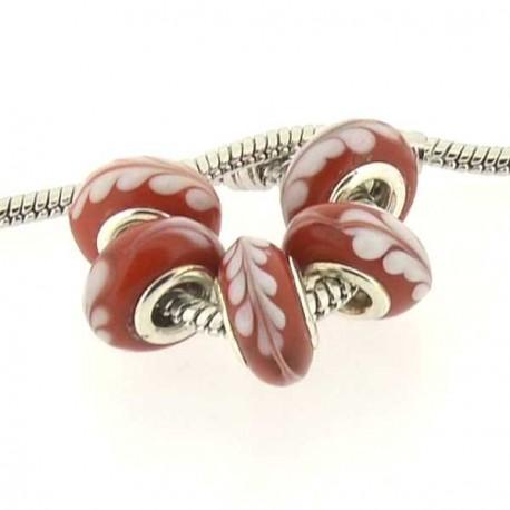 Perle de verre rouge couronne laurier style Pandora - à l'unité
