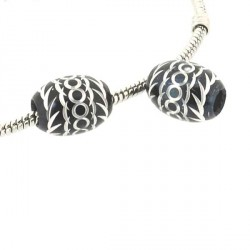 Perle ovale aluminium noir style Pandora - à l'unité