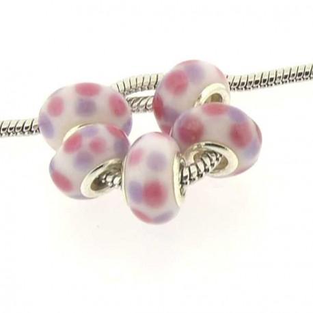 Perle de verre à pois rose et violet style Pandora - à l'unité