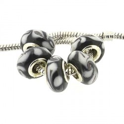 Perle de verre noire tourbillons blancs style Pandora - à l'unité