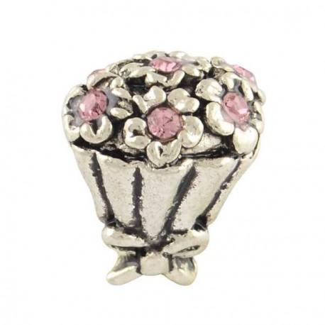 Charm Bouquet strass rose style Pandora - à l'unité