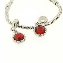 Charm Médaillon strass rouge style Pandora - à l'unité
