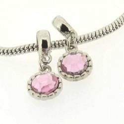 Charm Médaillon strass rose style Pandora - à l'unité